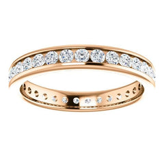 Eb012 - Diamond ~ .25 Ct Round Rose Gold Milgrain Wedding Band - Bands