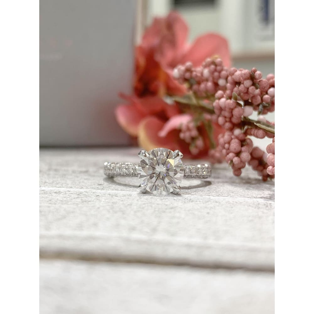 Edith ~ 18K 8.0Mm Round Moissanite Diamond Band - Ring