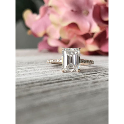 Elaine ~ 14Kr 9X7Mm Emerald Moissanite Engagement Ring - Ring