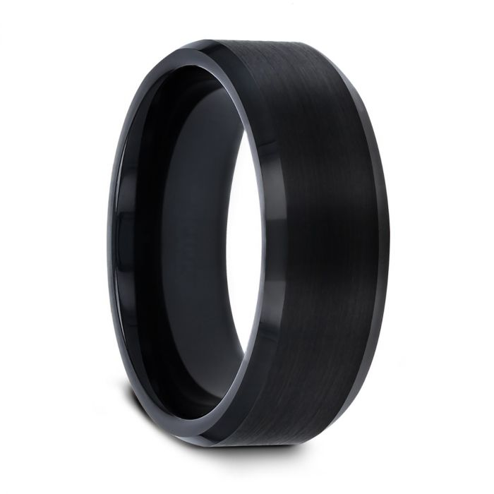 ELISE Black Tungsten Ring with Polished Beveled Edges and Brush Finished Center - 6mm