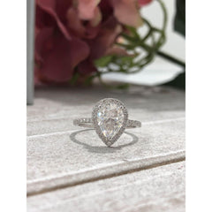 Elizabeth ~ 14Kw 9X7Mm Moissanite Pear Moissanite Halo And Band - Ring