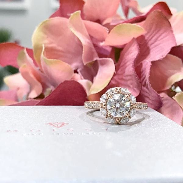Eternal Collection ~ Gail ~ 7Mm C&c F1 Round Moissanite Diamond Halo And Band - Ring