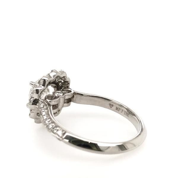 Eternal Collection - Halle ~ 18K 6.5Mm~ Round Moissanite Diamond Halo And Band - Ring