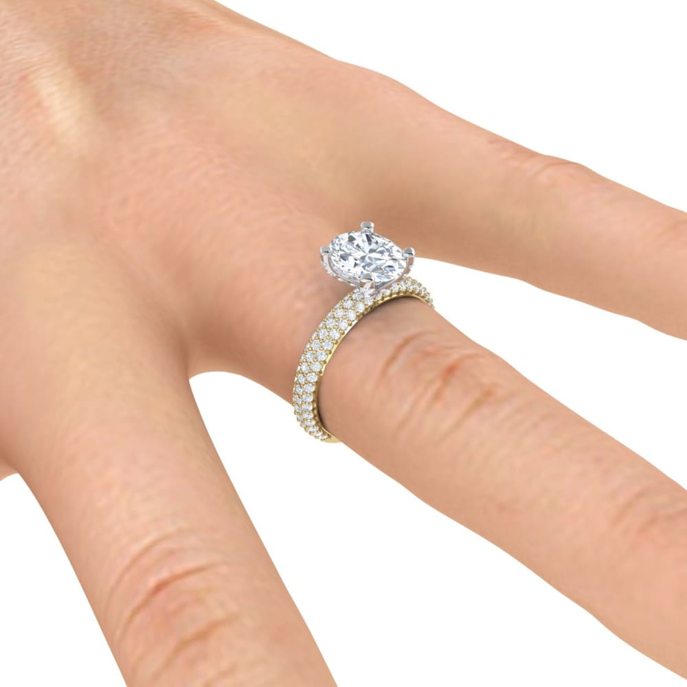 Eternal Collection - Kaelyn~ 18Kw 9X7Mm Oval Moissanite Diamond Halo And Band - Ring