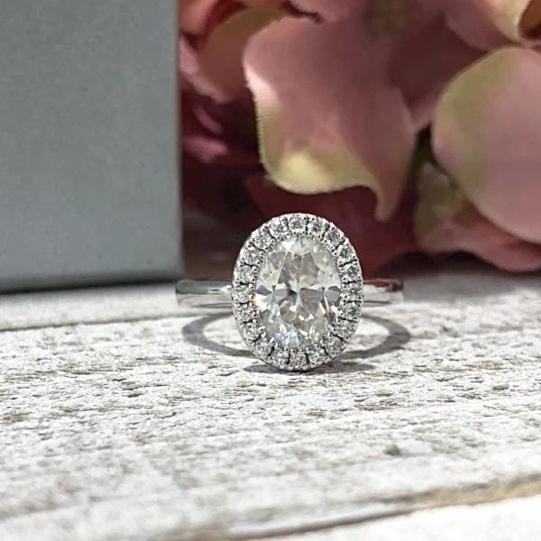 Gabrielle ~ 9X7Mm Prongless Oval Moissanite Diamond Halo And Band - Ring