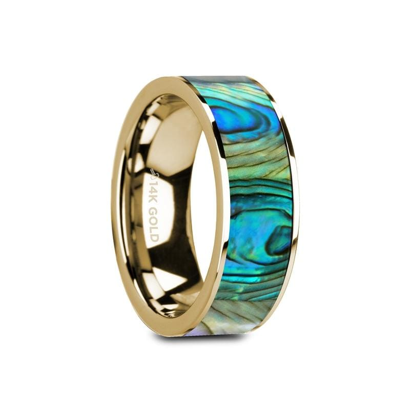 Galan Flat Polished 14K Yellow Gold With Mother Of Pearl Inlay - Mens Rings