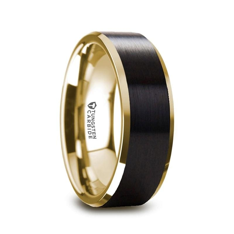 GASTON Gold Plated Tungsten Polished Beveled Ring with Brushed Black Center