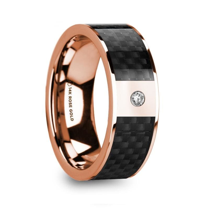 Hermeros Black Carbon Fiber Inlaid 14K Rose Gold Polished Ring With Diamond Accent - Mens Rings