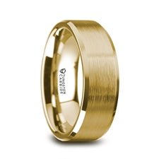 HONOR Gold Plated Tungsten Beveled Polished Edges Flat Ring with Brushed Center