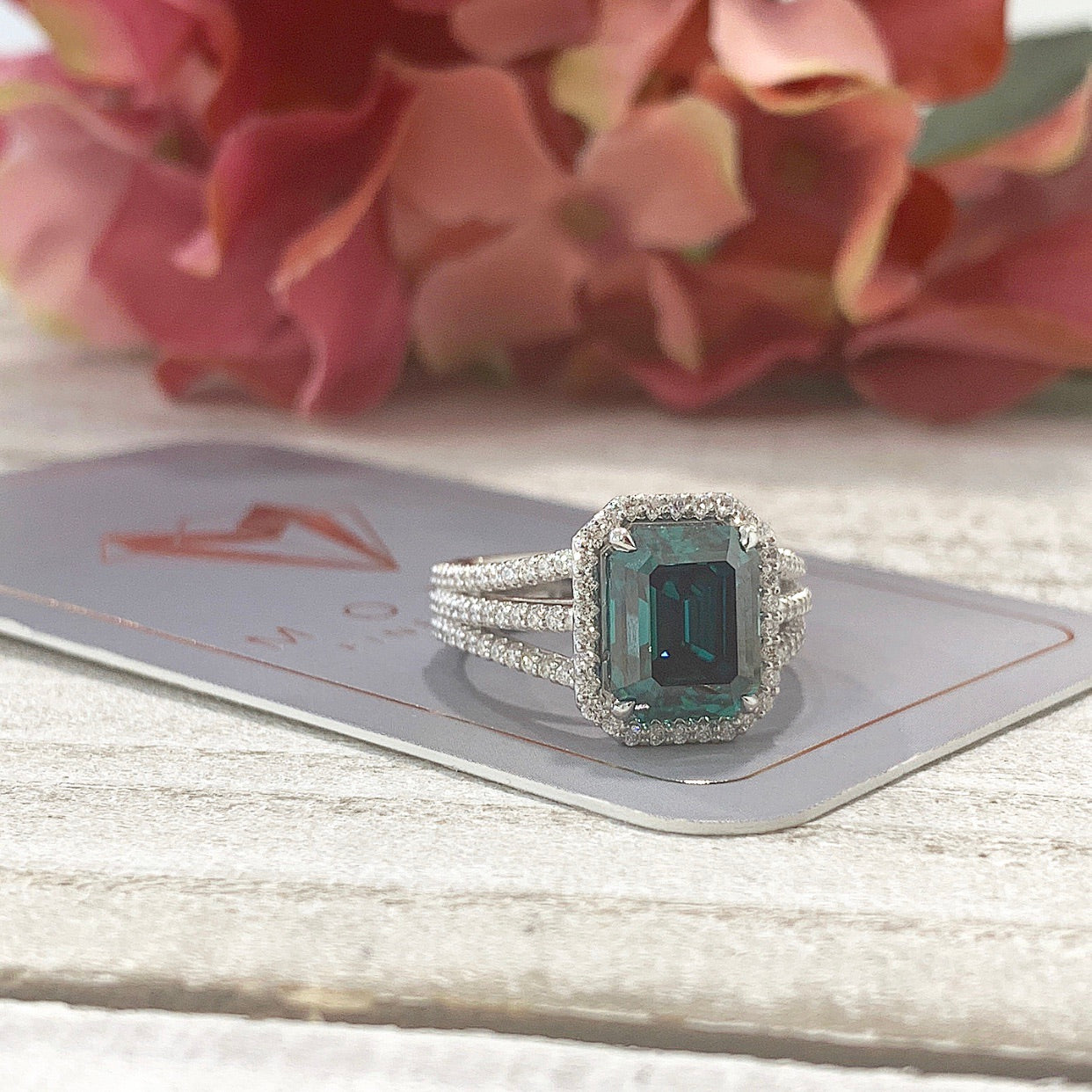 Dawn ~ 18KW 10x8mm Green Emerald Moissanite, Diamond Halo and Band