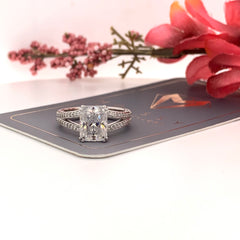 Connie ~ 14KW 7x9mm Radiant Moissanite, Diamond Split Shank Band