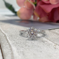 Charlene ~ 14KW 8mm Round Moissanite Engagement Ring