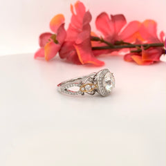 Eternal Collection ~ Rachel ~ 18KRW 8mm Round Moissanite, Diamond Hidden Halo and Band