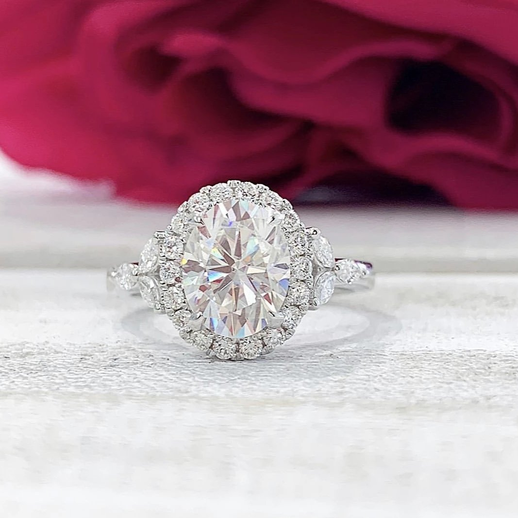 Theresa ~ 18K 9x7 Oval  Moissanite, Diamond Halo and Shoulders