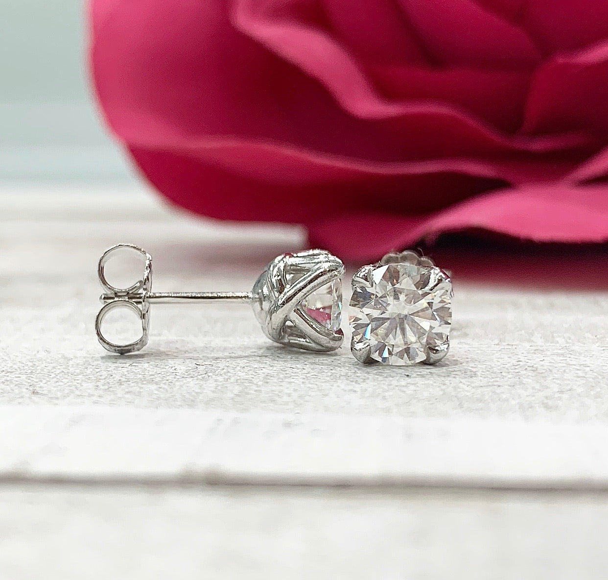 E127 ~ Moissanite  ~ 1.60ctw Moissanite Earrings
