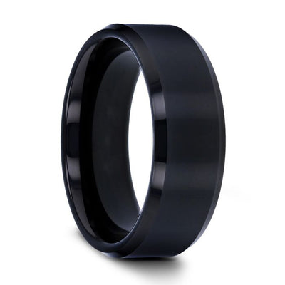 INFINITY Black Tungsten Ring with Beveled Edges - 4mm