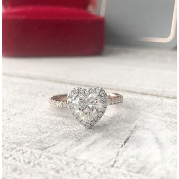 Jocelyn ~ 18Krw 7Mm Heart Moissanite Diamond Halo And Band - Ring