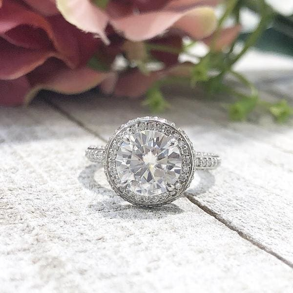 Kendall ~ 14Kw 8.0Mm Round Moisssanite Diamond Halo And Band - Ring