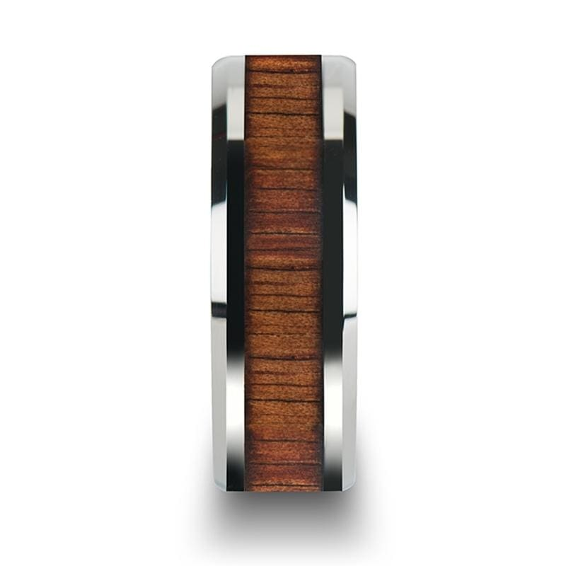Kona Koa Wood Inlay Tungsten Carbide Ring With Bevels - Mens Rings