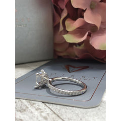 Leah ~ 18Kw 7.0Mm Princess Moissanite Diamond Hidden Halo And Band - Ring