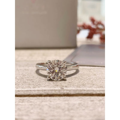 Lee Ann ~ 18Kw 8Mm Round Moissanite Diamond Basket - Ring