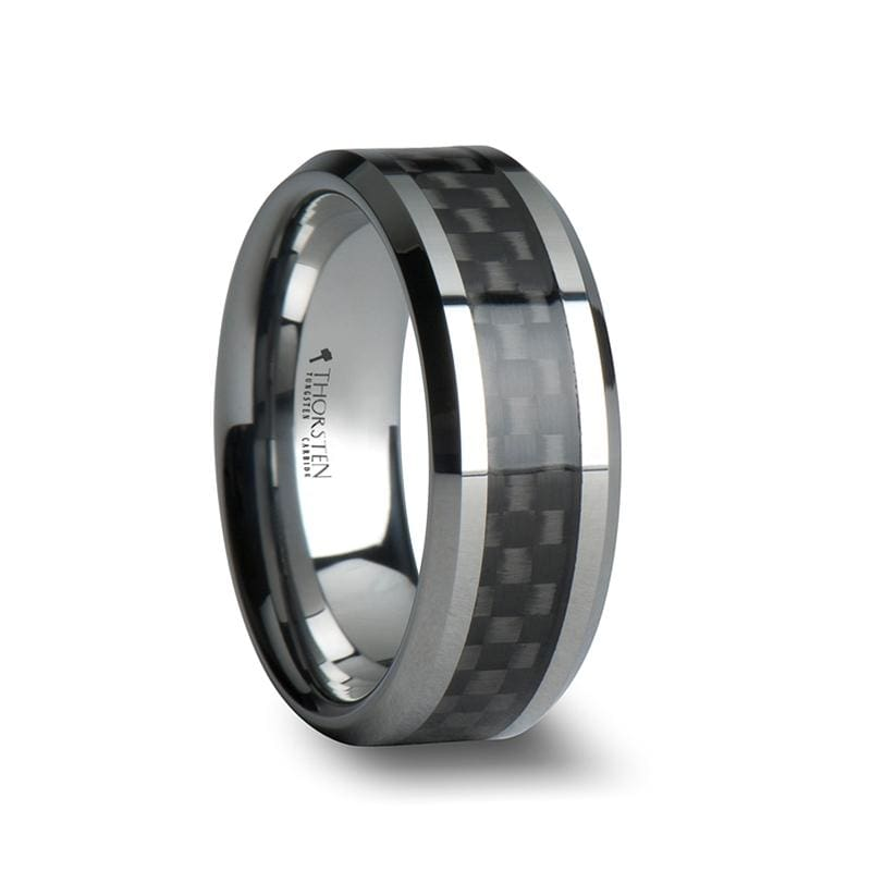 Maximus Tungsten Carbide Wedding Ring With Black Carbon Fiber Inlay - Mens Rings