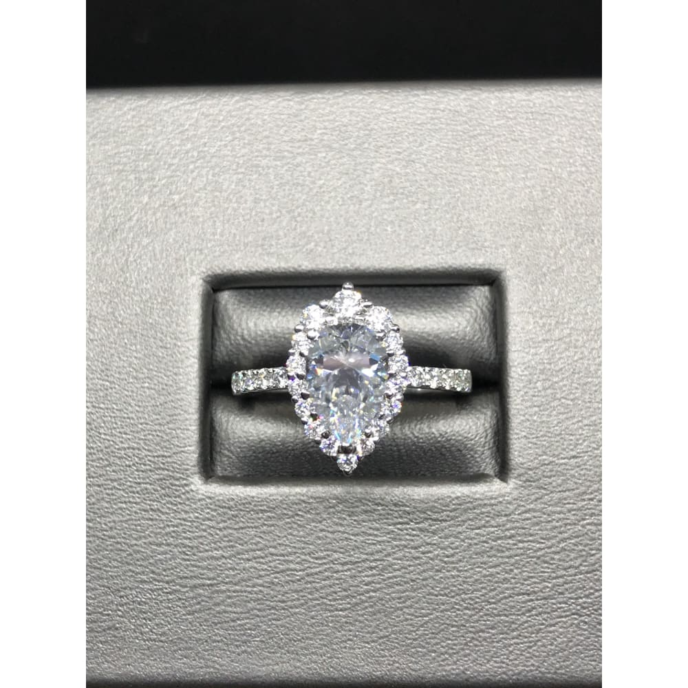 Mona ~ 14Kw 9X6Mm Pear Cut Moissanite Ring - Ring