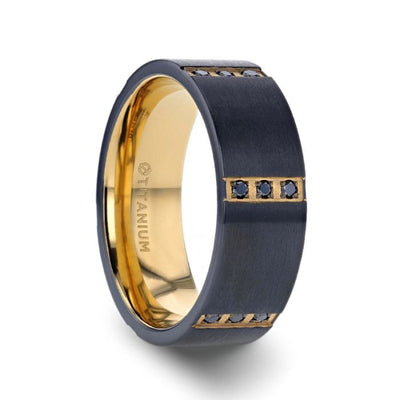 MURAMASA Flat Brushed Black Titanium Ring Gold Plated Inside with 6 Gold Plated Stainless Steel Bezels Triple Black Diamond Setting - 8mm