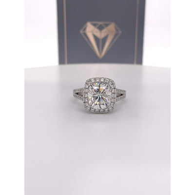 Nadia - 9X8Mm Elongated Cushion Moissanite Diamond Halo And Band - Ring