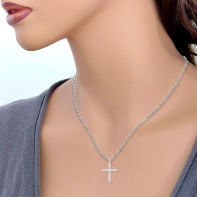Necklace ~ Moissanite Cross Pendant - Necklace