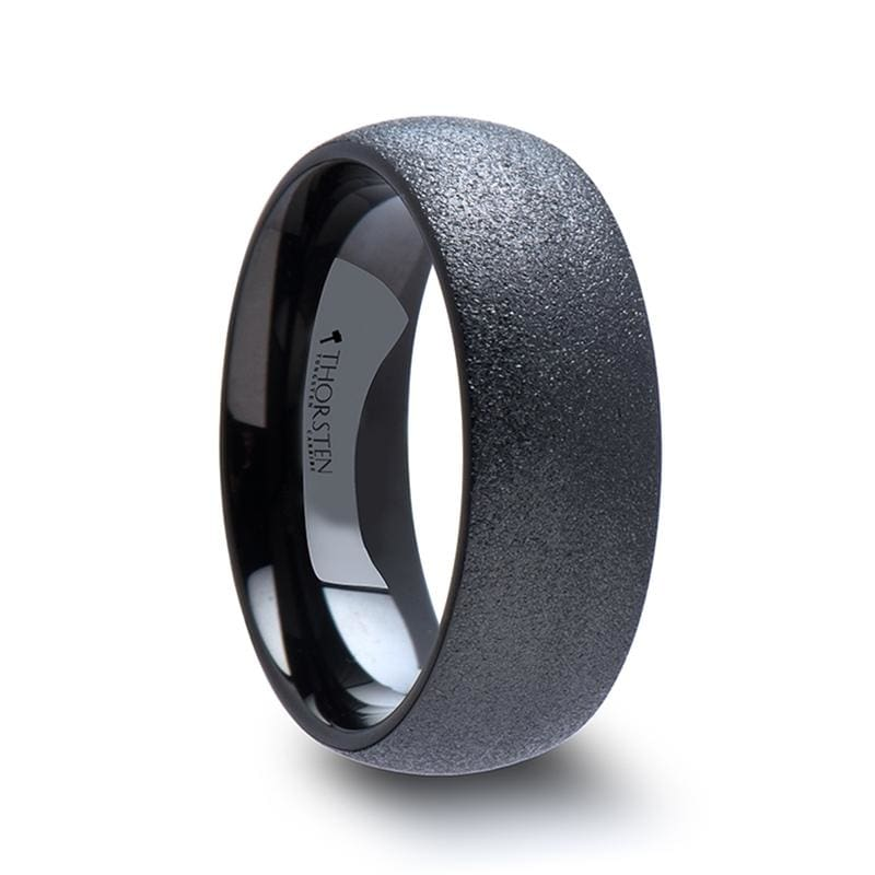 Obsidian Domed Black Tungsten Carbide Ring With Sandblasted Crystalline Finish - Mens Rings