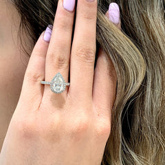Eternal Collection ~ Paris ~ 18K 10x7mm Pear Moissanite, Diamond Double Edge Halo and Band