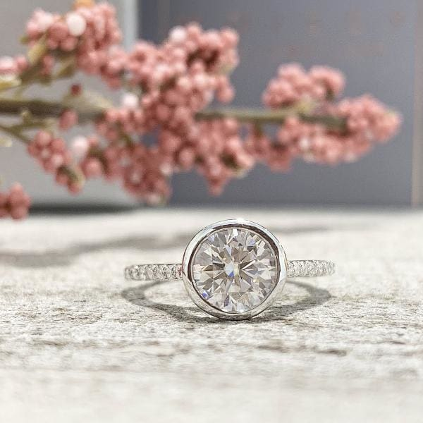 Patricia ~ 7.5mm Round Moissanite Engagement Ring