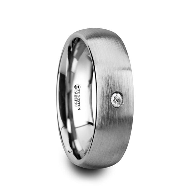 Pegasus Brushed And Domed Tungsten Carbide Wedding Ring With White Diamond - Mens Rings