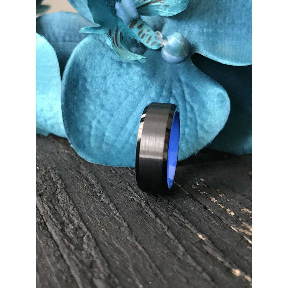 Rigel Black Tungsten Comfort Fit Wedding Band - Mens Rings