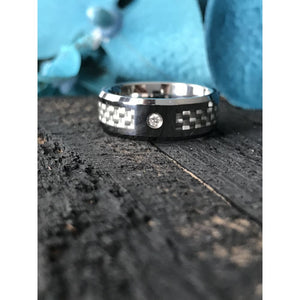 Royce Tungsten Carbide Ring With White Carbon Fiber And White Diamond - Mens Rings