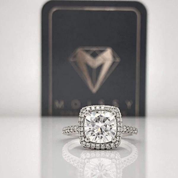 Savannah ~ 18Kw 7.5Mm Cushion Charles & Colvard Moissanite Diamond Halo And Band - Ring