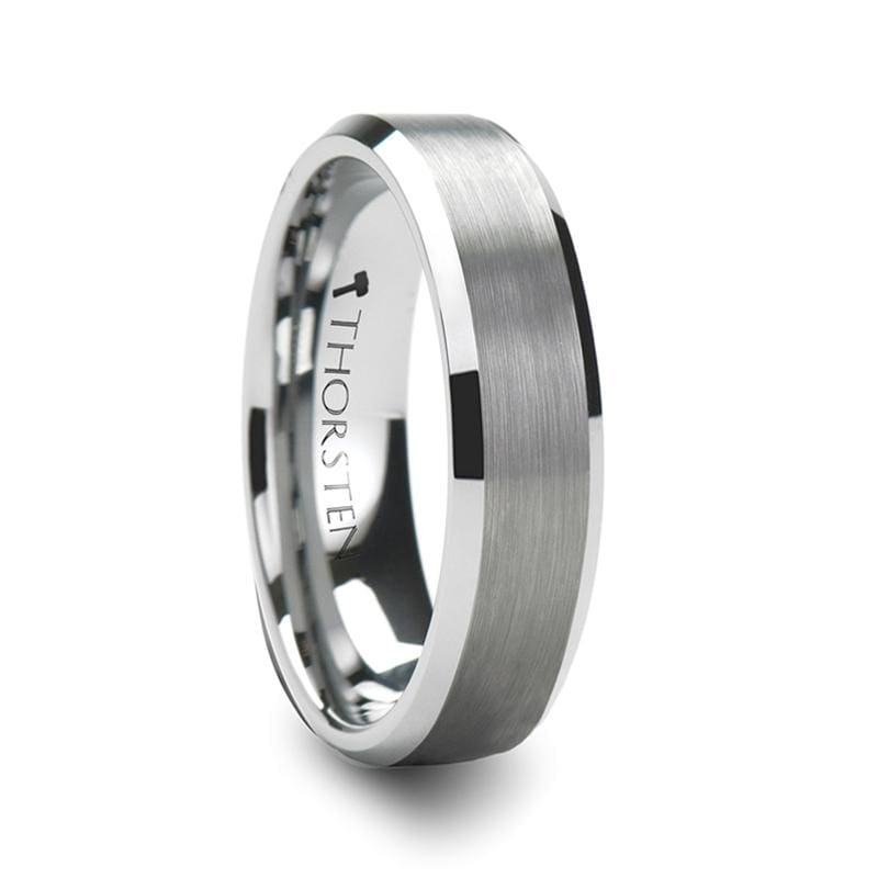 Sheffield Beveled Tungsten Ring With Brushed Center - Mens Rings
