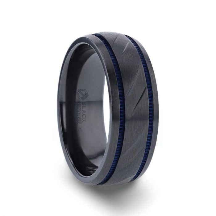 SHERIFF Domed Black Titanium Brushed Finish Men's Wedding Ring with Blue Grooves – 8mm