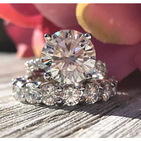 Sofia ~18Kw 11.5 Round Moissanite Diamond Hidden Halo And Band - Ring