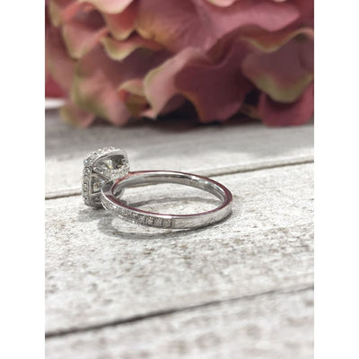 Tara ~ 18Kw 6.5Mm Cushion Moisssanite Diamond Halo And Band - Ring