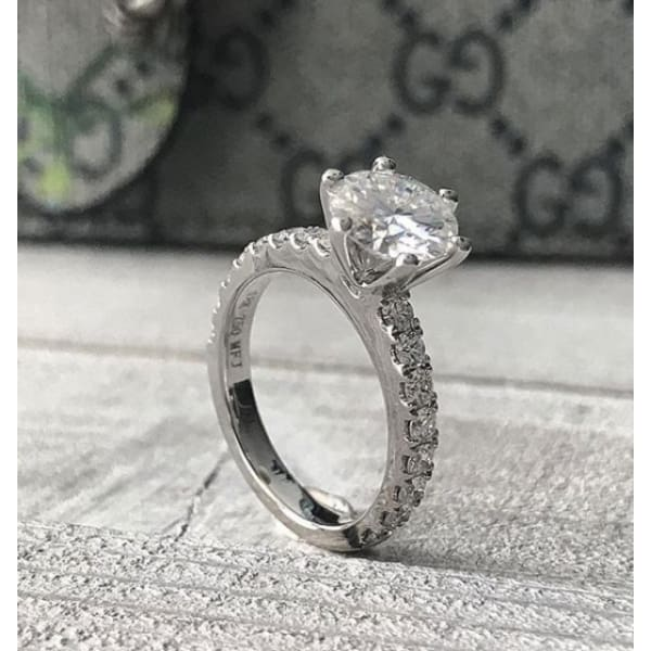 Tiffanie ~ 18Kw 8Mm Round Moissanite Diamond Band - Ring