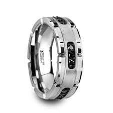Valor Tungsten Ring with Black Diamond