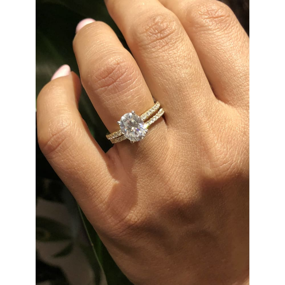 Vashti ~ 18Kyw 9X7Mm Oval Moissanite Diamond Hidden Halo And Band - Ring