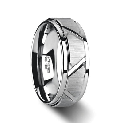 Vestige Tungsten Ring With Triangle Angle Grooves And Raised Center - Mens Rings