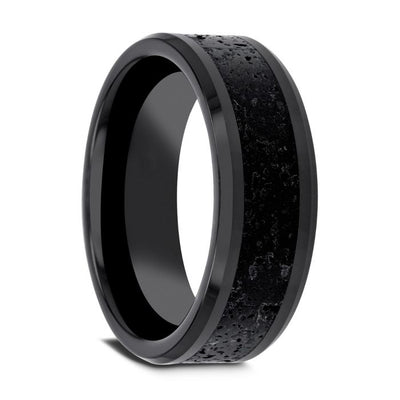 VESUVIUS Men's Polished Black Ceramic Wedding Band with Black & Gray Lava Rock Stone Inlay & Polished Beveled Edges