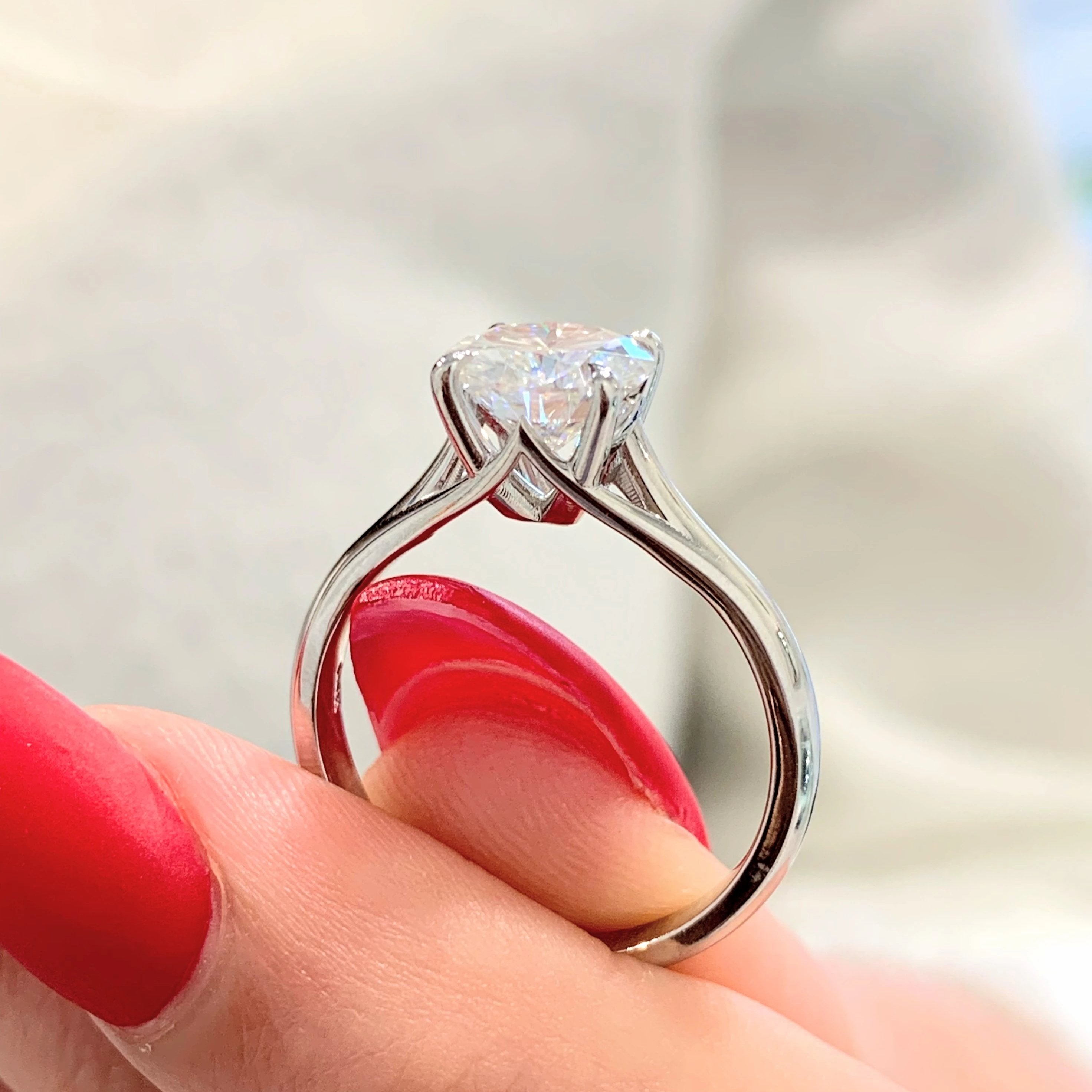 Vivian ~ 14KW 6.5mm Cushion Moissanite Solitaire