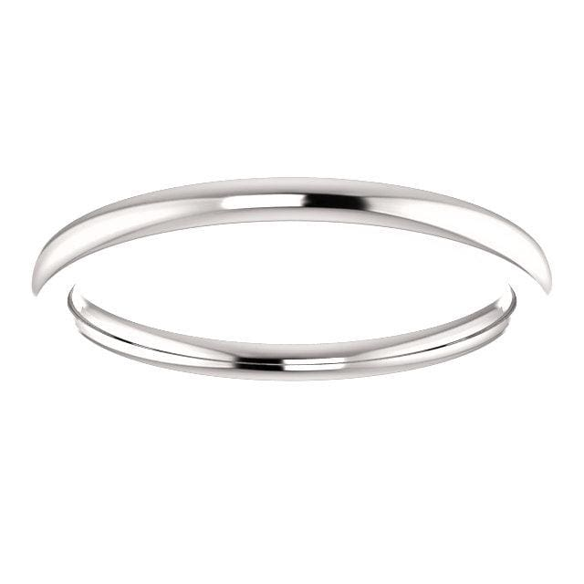 Wb0088 ~ White Gold Plain Wedding Band - Bands