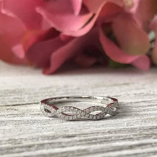 Wb051 ~ Diamond ~ 0.19 Ct Infinity Wedding Band - Bands
