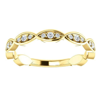 Wb055 ~ Diamond ~ .16Ct Yellow Gold Wedding Band - Bands